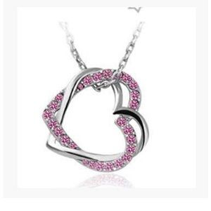 Jewelry - Austria Pink Silver Intertwined Hearts Necklace